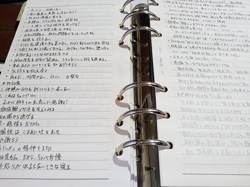 メモを溜め込んだシステム手帳