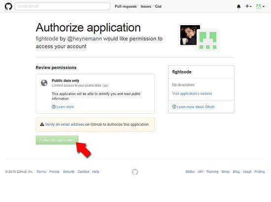 GitHubへのアクセスを許可
