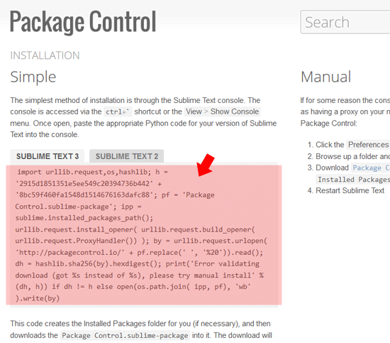 Installation Package Control