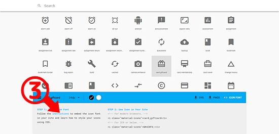 Google Material icons (ICON FONT)