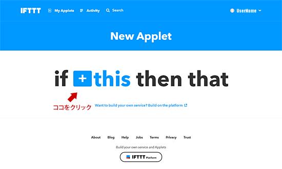 IFTTT thisをクリック